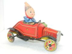 Antique Tin Toy Wind Up Clown Car Made in Japan Wind-up Toys litho Celluloid Tin