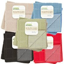 """MASTER BATHROOM - The Home Store Microfiber Scrubbers, 2-ct. Pack, 12""""-sq. - Tan - $ 1.  http://www.dollartree.com/Care-Facilities/kitchen-dining/linens-towels/The-Home-Store-Microfiber-Scrubbers-2-ct-Packs-12-sq-/963c526c533p331119/index.pro"""