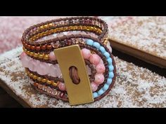 "Five row wrap bracelet *** with beaded loop closure *** YouTube // tutorial. (58"" round leather cording, button, 8mm and smaller beads, super glue)"