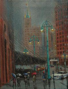 Buffalo and Broadway Milwaukee's Ward by Tom Shropshire Acrylic ~ 16 x 12 Walking In The Rain, Singing In The Rain, Rain Painting, Light Painting, City Rain, Rainy City, Dark Beauty Magazine, I Love Rain
