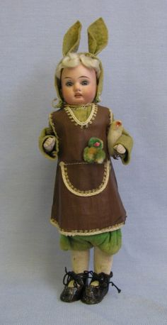 Vintage - Antique German 1900 Bisque Head Girl Easter Rabbit Candy Container
