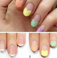 déco ongle facile à faire soi-même - réaliser des cœurs aux couleurs pastel