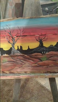 Cedar tree art and desert scene with yucca art by Stacie Sheets
