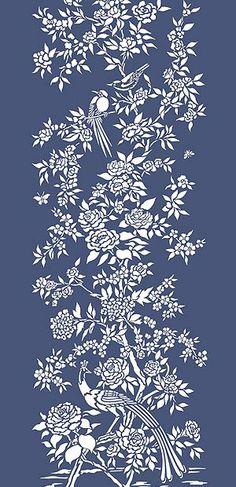 My chair? Bird Stencil, Stencil Art, Stenciling, Stencil Patterns, Stencil Designs, Handmade Wallpaper, Chinese Wallpaper, Large Stencils, Chinese Patterns