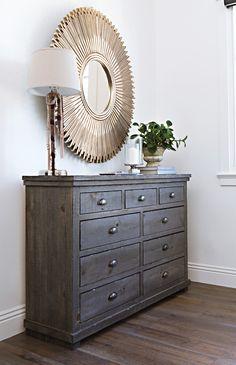 dressers chests sinclair grey dresser this solid pine bedroom dresser features bin pulls - Bedroom Dresser