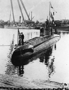 German Submarine U. after the surrender in Submarines were way ahead of their time. They allowed military personnel to track and attack enemy ships while being undetected at the same time. World War One, First World, Royal Navy Submarine, German Submarines, Military Personnel, War Machine, Battleship, Wwii, Germany