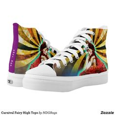 Shop Carnival Fairy High Tops created by NDGRags. Printed Shoes, Walking Tall, Top Shoes, High Tops, High Top Sneakers, Carnival, Fairy, Unique, Prints