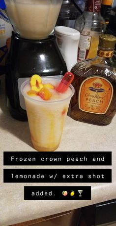 Frozen Crown Peach and Lemonade Party Drinks, Cocktail Drinks, Fun Drinks, Beverages, Cocktails, Mixed Drinks Alcohol, Alcohol Drink Recipes, Liquor Drinks, Alcoholic Drinks