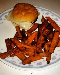 Low fat spiced Sweet potato fries and Veggie Burger with Swiss Cheese