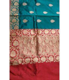 Turquoise Pure Banarasi Katan Silk Saree