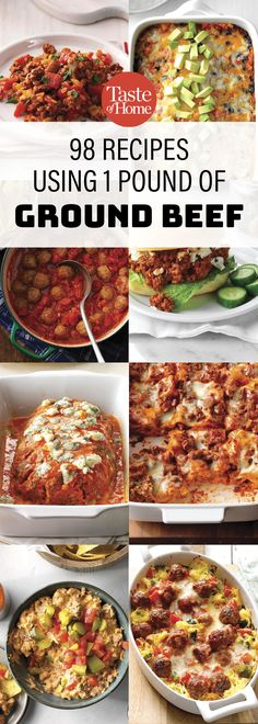 98 Recipes Using 1 Pound Of Ground Beef - Dinner Recipes - Beef Recipes Recipes Using Ground Beef, Ground Beef Meals Healthy, Hamburger Meat Recipes Ground, Recipes Using Hamburger, Ground Beef Dishes, Ground Beef Recepies, Casseroles With Ground Beef, Ground Beef Crockpot Recipes, Hamburger Meat Casseroles