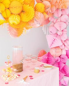 Ombre Honeycomb Waterfall Arch (Oh Happy Day! Paper Party Decorations, Pinwheel Decorations, Pastel Party, Party Garland, Party Banners, Partys, Party Shop, Baby Shower Favors, Party Planning