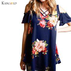 2017 Chegada Nova T shirt Mulheres Verão da Cópia Floral Solto T-Shirt de  Manga 5d898a7cb7027