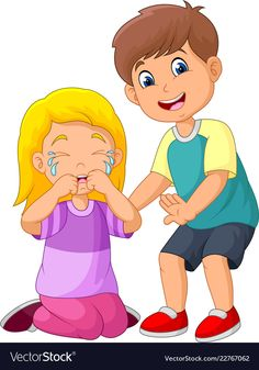 Cartoon little boy comforting a crying girl Vector Image Kids Cartoon Characters, Cartoon Books, Cartoon Kids, Art Drawings For Kids, Art For Kids, Preschool Rules, Sequencing Pictures, Crying Girl, Cartoon Clip