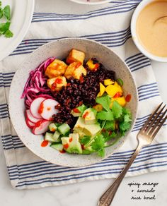 spicy mango and avocado rice bowl. vegan. gluten free (if use coconut aminos instead of soy sauce). loveandlemons.com.