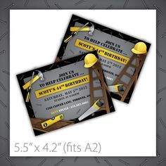 Printable Birthday Party Invitation . Build It ~ $8.00 ~ construction, building, hammer, tools, hard hat, black, gray, ladder, level, man, manly, male, party, event, invite, invitation ~ https://www.etsy.com/listing/91186958/construction-birthday-party-invitations