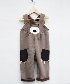Toddler Boys Bear Dungaree Overalls. $62.00, via Etsy.