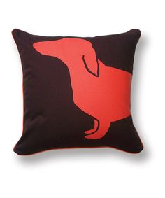 Look at this Orange & Brown Dachshund Reversible Throw Pillow on #zulily today!