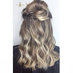 Balayage beige and ash blonde. Top knot. Blonde balayage. Blonde top knot.