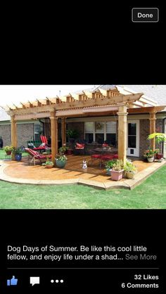 Shade pergola, stained concrete with rounded edge.