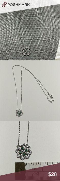 "Sterling Silver Swarovski Crystal Pendat Necklace Sterling Silver with a Swarovski crystal pendant, adjustable 16""-18"" Jewelry Necklaces"