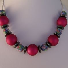REDUCED - Pink, haematite and fimo beaded handmade necklace