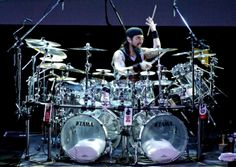 """Mike Portnoy - with one of his """"smaller"""" kits"""