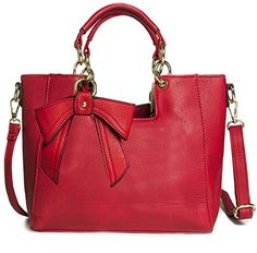 Big Handbag Shop Womens Medium Top Handle Bow Detail Shoulder Bag 9945 Red >>> For more information, visit image link.