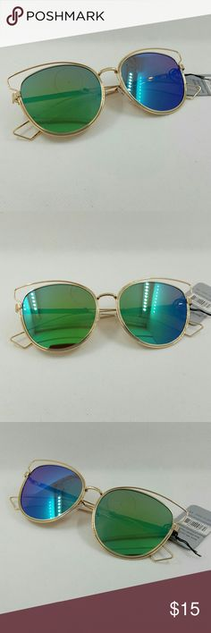 High quality wire cat style sunglasses High quality wire cat style sunglasses gold frame blue green lens  J1045 Accessories Sunglasses