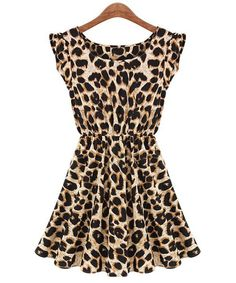 Alluring Scoop Neck Leopard Print Waisted Sleeveless Dress (LEOPARD,M) | Sammydress.com