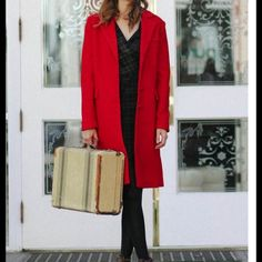 """NWOT Red coat Perfect for embracing the cold-weather months, this vibrant red textured coat is designed with covered button closures at the front, two decorative flap pockets, and one decorative welt pocket at the bust. Complete with notched lapels, this classic coat looks elegant layered over dresses for a sophisticated ensemble. Fully lined.  Self: 25% Wool, 75% Polyester Lining: 100% Polyester Imported 24"""" sleeves 15"""" shoulder to shoulder 39"""" length from top of shoulder Jackets & Coats"""
