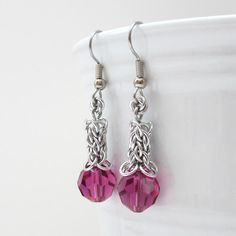 """Beautiful 10mm Swarovski crystals adorn these Candy Cane Cord chainmaille earrings. Earring length: 1-5/8"""", CCC portion is 3/16"""" in width/thickness"""