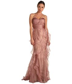 Badgley Mischka Ruffle Strapless Dress    Nice complimentary color to green and the style of the dress for the bride.