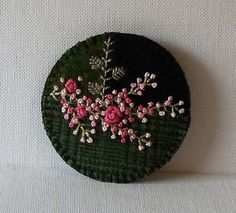 Hand Made Brooch Felted Wool Crazy Patch with Embroidered Pink Flowers & Green Vines