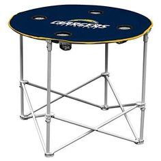 San Diego Chargers  Collapsible Round Table 4 Cup Holders Carry Bag Patio Yard #LogoBrands #SanDiegoChargers