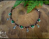 SALE .Tribal Spiral fairy forest macrame anklet bracelet. Handmade elfic jewerly. Natural gemstones Malachites.
