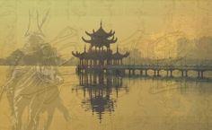 Japanese, asian architecture, bridge, gold, horse, japanese, lake, reflection, shogun, symbols, warrior, water, yellow