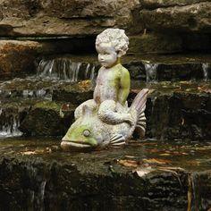 Orlandi Statuary Boy on Fish Garden Statue   from hayneedle.com
