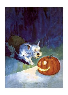 This curious dog being surprised by a jack-o-lantern is from comics pioneer Edwina Dumm - the first female full time editorial cartoonist in the United States. Vintage Halloween Cards, Halloween Images, Vintage Holiday, Halloween Crafts, Happy Halloween, Halloween Ideas, Halloween Decorations Inside, Wicca, Wire Fox Terrier