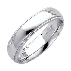 14K White Gold 5mm COMFORT FIT Plain Milgrain Wedding Band Ring for Men & Women (Size 4 to 12) The World Jewelry Center. $246.00. Promptly Packaged with Free Gift Box and Gift Bag. High Polished Finish