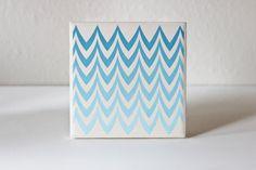 chevron sky blue ceramic ombre coasters