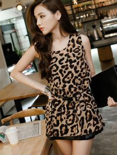 Sexy Leopard Sleeveless Classic Fit Dress - BuyTrends.com