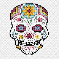 'Vincente' new cross stitch pdf file of Day of the Dead sugar skull by 'CrossStitchSusie', £4.50 on Etsy shop.