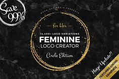 Feminine Logo Creator Circle Edition by WornOutMedia Co. on @creativemarket