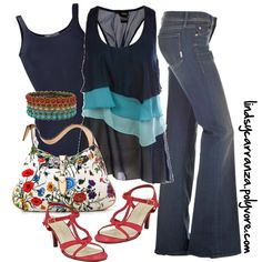 Blue and Red, created by lindsycarranza on Polyvore