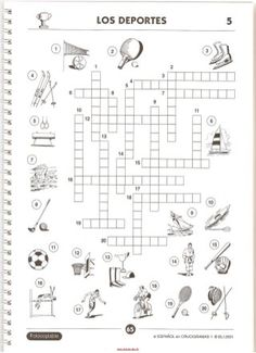 printable spanish freebie of the day los deportes crossword puzzle 1 from. Black Bedroom Furniture Sets. Home Design Ideas