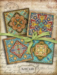 ORIENTAL COASTERS - Digital Collage Sheet Printable download 3.8x3.8 inch size moroccan ornate Images for paper craft, Art Cult graphics