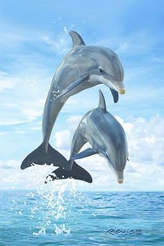 Many people are enthralled by and amazed at the variety of sea animals and sea creatures that can be found Dolphin Painting, Dolphin Art, Tier Wallpaper, Animal Wallpaper, Cute Baby Animals, Animals And Pets, Funny Animals, Strange Animals, Amazing Animals
