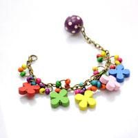 How to Make a Floral Charm Bracelet for Kids with Colorful Wood Beads