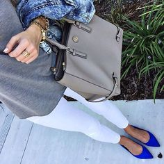 Loving everything about it. Blue flats, the purse, gray top, gold accessories.